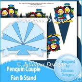 Penquin Couple Fan with Stand