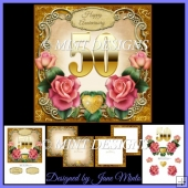 GOLDEN 50TH ANNIVERSARY KIT WITH PINK ROSES