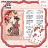 ORIENTAL TEA LADY 2018 A4 UK Calendar with Decoupage Kit