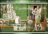 Art Deco Lady Lily Christmas 4 Sheet mini Kit Green