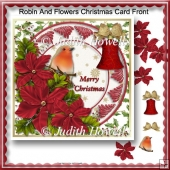 Robin And Flowers Christmas Card Front