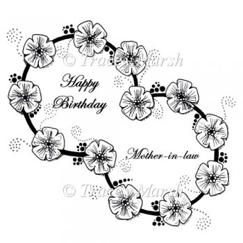Happy Birthday Mother-in-Law Double Floral Ring Digital Stamp