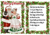 Santa and Mrs claus in holly frame with verse
