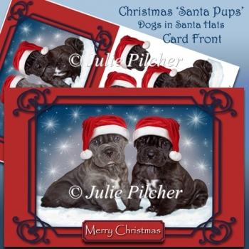 Christmas Santa Pups ~ Dogs in Santa Hats Card Front