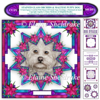 7.5 Square Faux Stained Glass Orchids & Maltese Puppy Dog Kit
