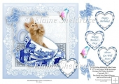 "Blue Teacup Kitten & Butterfly - 8"" x 8"" Card Topper & Decoupage"