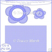 Blue Gingham Flower Frame, Tag and Backing Paper Set - CU & PU