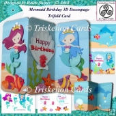 Little Mermaid Birthday 3D Decoupage Trifold Card