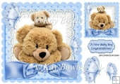 Cute cuddle teddies for baby or birthday with blue bow 8x8