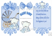 blue babys pram with bear cuddling blanket with bow