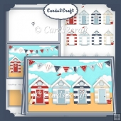 Landscape Beach hut card