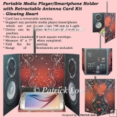 Portable Media Player/Smartphone Holder Card - Glowing Heart