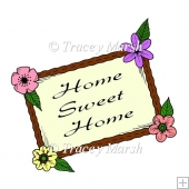 Home Sweet Home Floral Frame Clipart - CU & PU OK