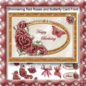 Shimmering Red Roses and Butterfly Card Front