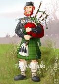 Bagpipe Player Dude Green Kilt A4