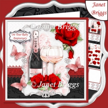 CHAMPAGNE CELEBRATIONS RUBY 7.8 Decoupage & Insert Mini Kit