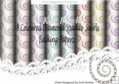 8 Lovely coloured diamond swirl backing papers
