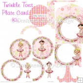 Twinkle Toes Ballet Girl Decoupage Plate Card with Easel