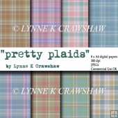 PRETTY PLAIDS - 8 x A4 digital papers - Commercial Use OK