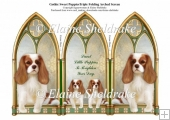 Triple Gothic Arch Folding Screen Sweet King Charles Puppy Dogs