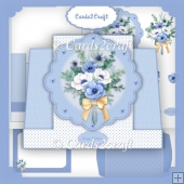 Blue and White flower stepper card