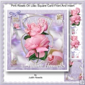Pink Roses On Lilac Square Card Front And Insert
