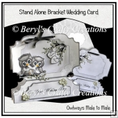 Stand Alone Bracket Card - Male to Male Wedding owls