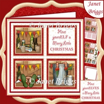 MERRY ELF SQUARES 7.5 Humorous Quick Layer Card & Insert Kit