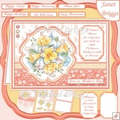 SPRING DAFFODIL SPRAY A5 Decoupage & Insert Card Kit