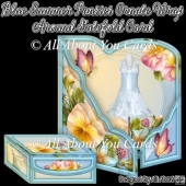 Blue Summer Pansies Ornate Wrap Around Gatefold Card