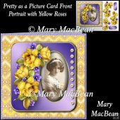 Pretty as a Picture Card Front - Portrait with Yellow Roses