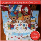 Happy 40th Birthday Bears Shelf Card