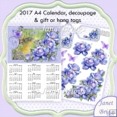 Porcelain Roses 2017 A4 UK Calendar with Decoupage Kit