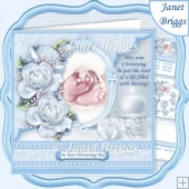 CHRISTENING TOES & ROSES Blue 7.5 Decoupage & Insert Kit