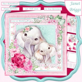 ELEPHANT MUM & CALF 7.5 Decoupage & Insert Card Kit