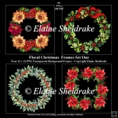 Christmas Floral Wreath Frames Set One x 4 PNG