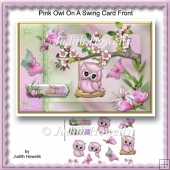 Pink Owl On A Swing Card Front