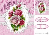 pink vintage roses on lace with bow 8x8