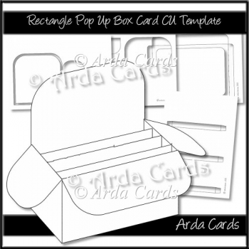 Rectangle Pop Up Box Card CU Template