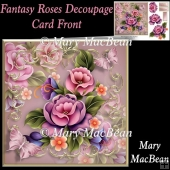Fantasy Roses Decoupage Card Front