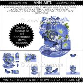 VintageTeacup and Blue Flowers Cradle Card