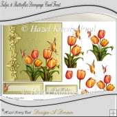 Tulips & Butterflies Decoupage Card Front