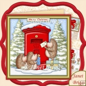 Hedgehogs Christmas Post 7.5 Christmas Decoupage Kit