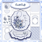 Blue Christmas oval easel card set
