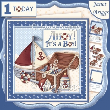 AHOY IT'S A BOY 7.5 New Baby or 1st Birthday Decoupage Kit