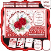 RED ROSES SPRAY A5 Decoupage & Insert Card Kit
