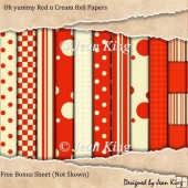 Oh yummy Red n Cream 8x8 Papers