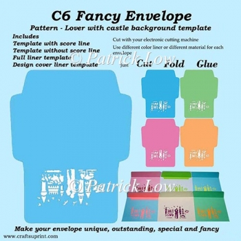 C6 Fancy Envelope – Pattern – Lover with Castle Background