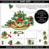 Xmas Teacup Cradle Card: Holly and Berry Cuppa