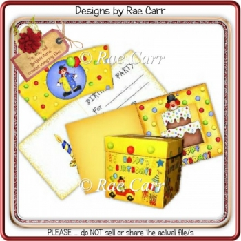 066 Clown Birthday Party Set *Multiple Machine Formats*